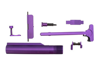 XTS anodized AR-15 parts kit with purple finish includes the parts shown here.